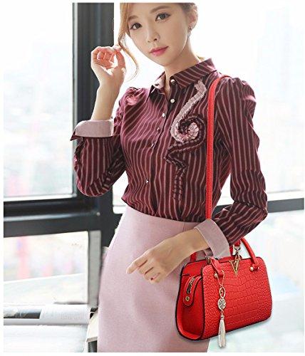 Bolso Crossbody Mano Negro de Bolso Bag Mano Simple Mujer para de rojo CCZUIML q0aFzwIx