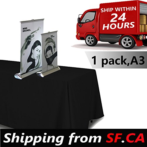 1 pc,11.5x16.5,A3 - Desktop Mini Retractable Roll up Banner Stand by Tiger-Hoo(Shipping from SF.CA USA)