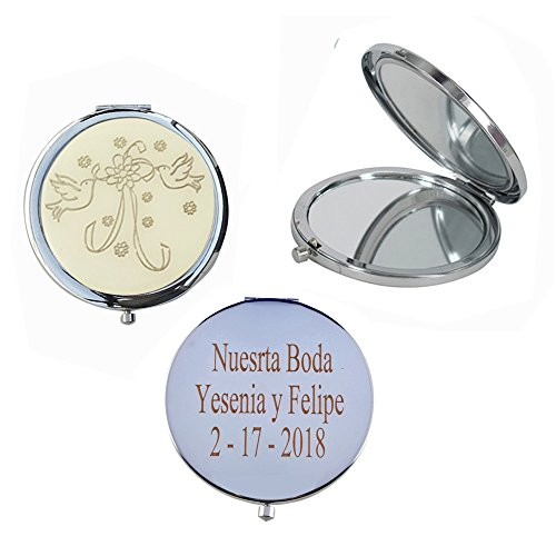 Wedding Favors (12 PCS) Personalized Custom Laser Engraving Bridal Shower, Engagement Favors, Compact mirror (Silver) - Custom Compact Mirrors