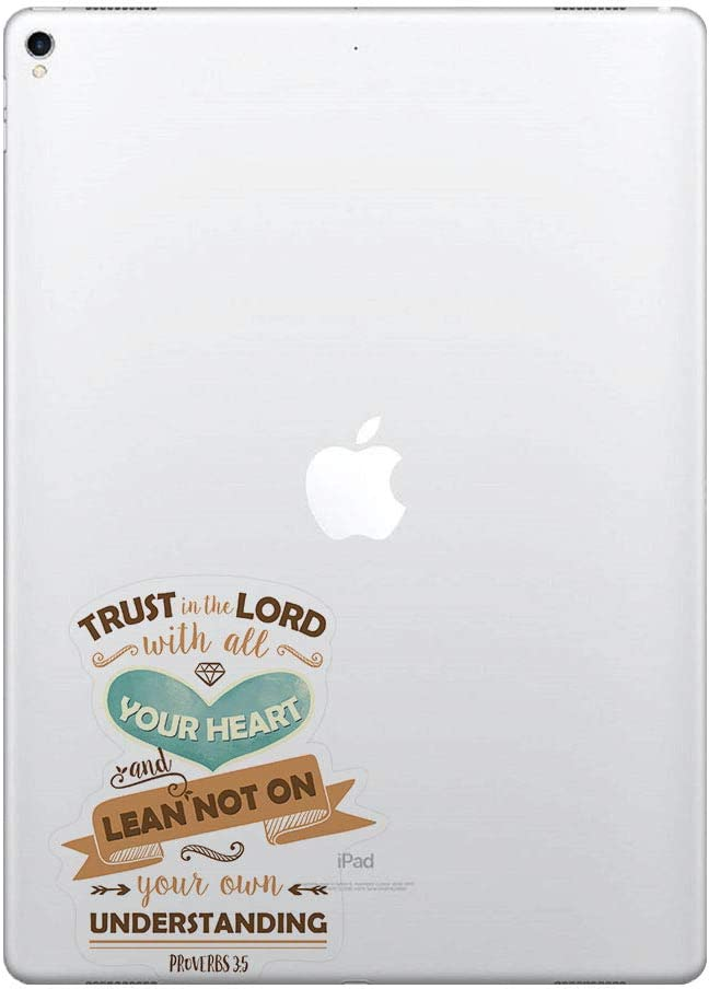 FINCIBO 5 x 5 inch Christian Bible Proverbs 3:5-6 Removable Vinyl Decal Stickers for iPad MacBook Laptop (Or Any Flat Surface)