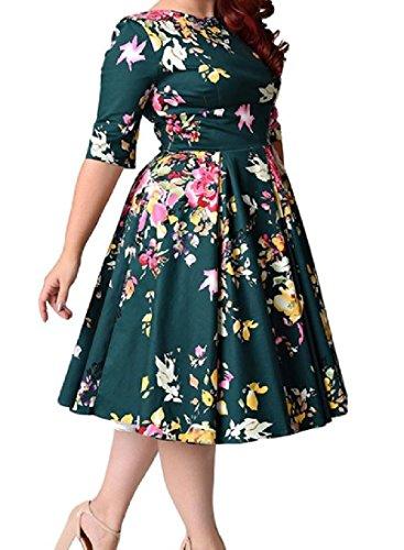 Confortables Femmes En Forme Swing Floral Taille Plus Demi-tunique Manches Robe Haut 5xl Vert