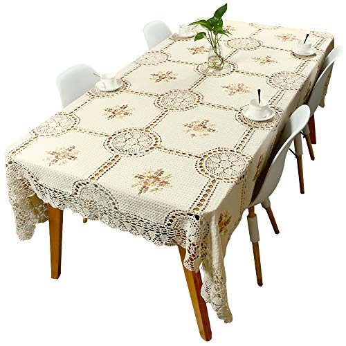 yazi Handmade Vintage Burgundy Lace Fabric Crocheted Patterns Tablecloth/Table Cover with Red Flowers for Rectangle Tables for Party,Wedding (63 X 78.7 inch)