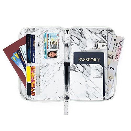 MyMealivos Travel Wallet Passport Holder RFID Blocking -Marble PU leather