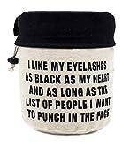 StylesILove 100% Cotton Canvas Trendy Print I Like My Eyelashes Barrel Shaped Drawstring High Capacity Makeup Travel Bag Cosmetic Multi-use Storage Organizer (Natural)