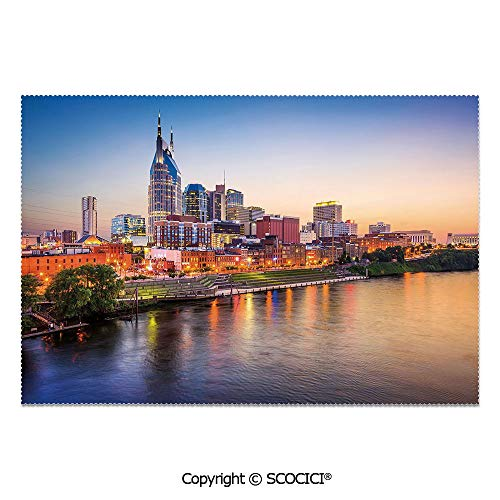 SCOCICI Set of 6 Heat Resistant Non-Slip Table Mats Placemats Cumberland River Nashville Tennessee Evening Architecture Travel Destination for Dining Kitchen Table Decor