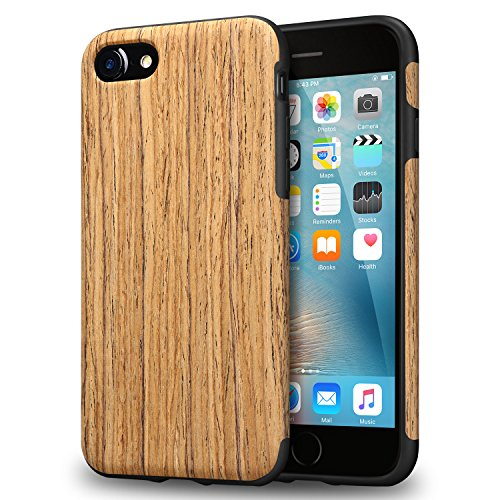 TENDLIN iPhone 8 Case / iPhone 7 Case with Wood Grain Outside Soft TPU Silicone Hybrid Slim Case for iPhone 7 and iPhone 8 (Santos Rose Wood) - Wood Look Santa