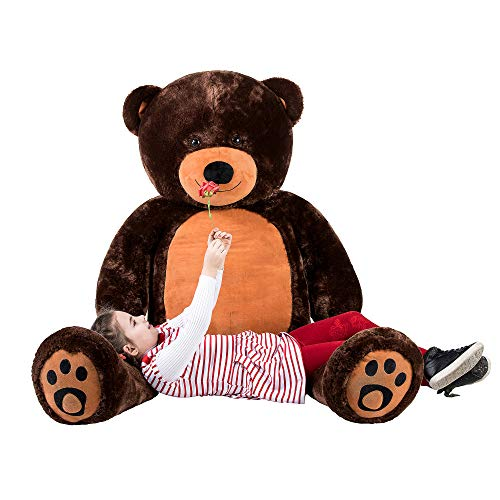 WOWMAX 6 Foot Giant Huge Life Size Teddy Bear Daney Cuddly Stuffed Plush Animals Teddy Bear Toy Doll for Birthday Christmas Dark Brown 72 Inches
