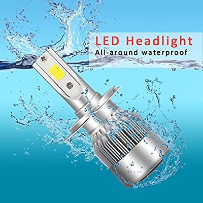 LED Headlight Bulbs Headlight bulb H7 All-in-One Conversion Kit Led headlights H7 with COB Chips 8000 Lm 6500K Cool White Beam Bulbs IP68 Waterproof: Automotive