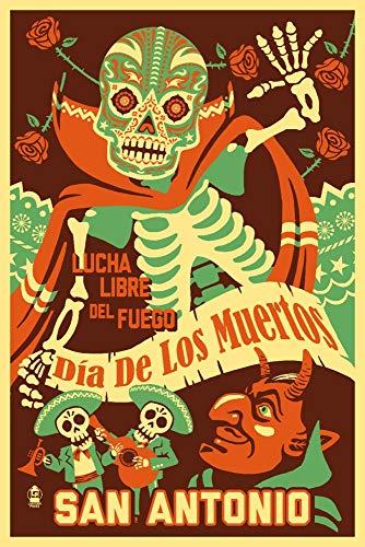 - San Antonio, Texas - Dia de los Muertos (Day of the Dead) - Lucha Libre del Fuego (12x18 Fine Art Print, Home Wall Decor Artwork Poster)