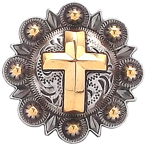 - Cross Berry Concho Antique Silver and Rose Gold 1-1/2