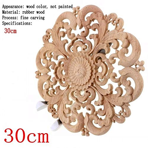 ARISLUX Craft Wood - Carving Furniture Decoration Solid Door Round Flower Miniature Crafts Figurine