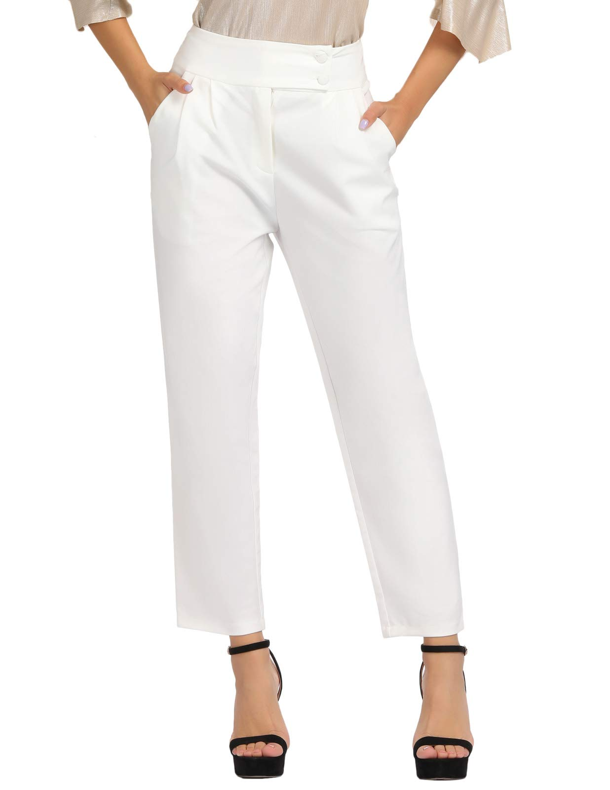 ویکالا · خرید  اصل اورجینال · خرید از آمازون · GRACE KARIN Womens Stretch Pull On Dress Pants Ankle Length Work Casual White L wekala · ویکالا