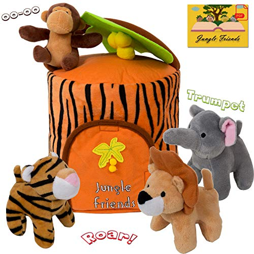 (Plush Jungle Animals Toy Set - Carrier | Realistic Sounds & Improved Design for Babies with Stuffed Elephant, Monkey, Tiger, Lion & Animal House + e-Book | Great learning gift for Babies & Toddlers)