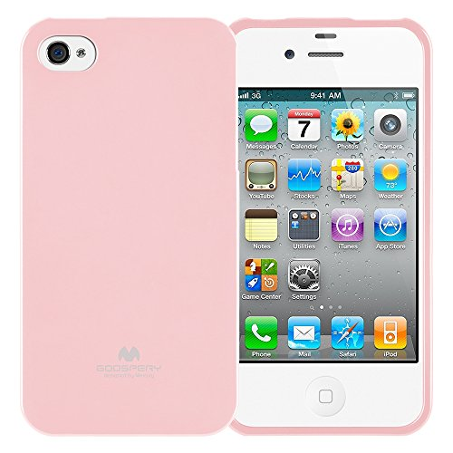 GOOSPERY Marlang Marlang iPhone 4/4S Case - Baby Pink, Free Screen Protector [Slim Fit] TPU Case [Flexible] Pearl Jelly [Protection] Bumper Cover for Apple iPhone4S, IP4-JEL/SP-PNK (Phone Cases Iphone 4 Pink)