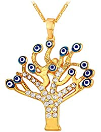 Talisman Jewelry 18K Gold Plated Necklace Blue Enamel Evil Eye Tree Of Life Pendant