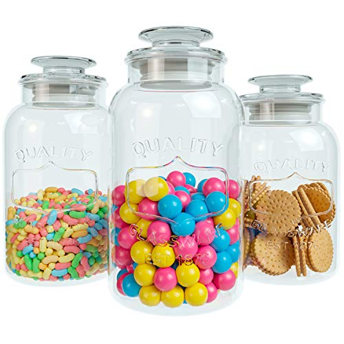 (Home Intuition Quality Collection 3 Piece Glass Canister Set with Lids)