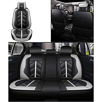 Universal-Leder Farbe : Gray kompatibel mit Airbag-Sitzprotektoren vorderer und hinterer 5-Sitzer-Komplettsatz Fly Hong Autositzbezug Vier Jahreszeiten wasserdicht.