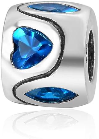 Blue /& Clear CZ Crystal Star European Style Charm Bead
