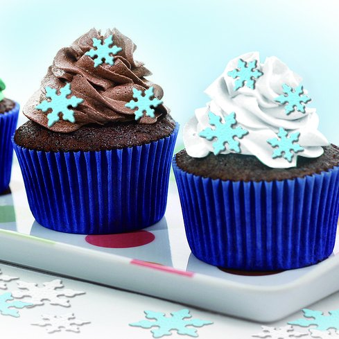 Decorating Snowflake Cookies (Pre Cut 52 Edible Cake Decoarations 1'' Blue Snow Flake for decorating Cakes, Cookies, Cupcakes, Summer Wedding Cake and Dessert Toppers, Edible Wafer Paper Decorations)