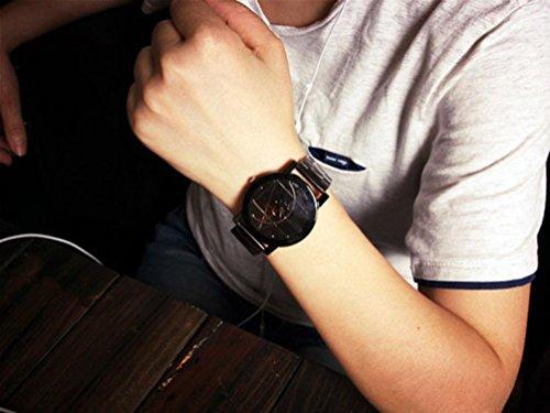 991db6d537c7 Amsion Marea aguja de la brújula Reloj Hombre Acero inoxidable Moda cuarzo  analógico reloj de pulsera (negro)  Amazon.es  Deportes y aire libre
