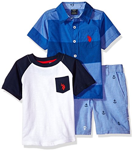 U.S. Polo Assn.. Toddler Boys' Sleeve Shirt, T-Shirt and Short Set, Anchors Short Multi Plaid, (Multi Plaid Short)