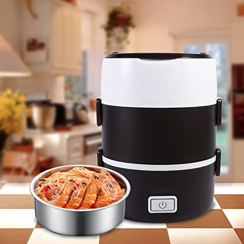 3 tier electric heater lunch box food warmer container bento portable 220v th. Black Bedroom Furniture Sets. Home Design Ideas