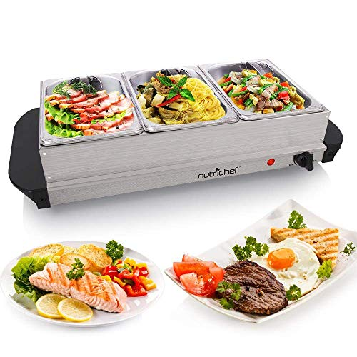 NutriChef Hot Plate Food Warmer - Buffet Server Chafing Dish Set - Portable Stainless Steel Electric Warming Tray Features 3 Section 1.5 quart Serving Containers with Lids - AC Powered - PKBFWM21 (Ren ()