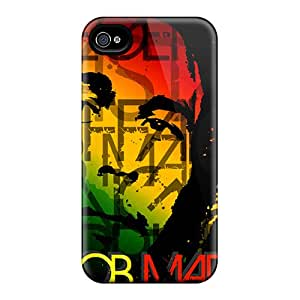 Protective Hard Cell-phone Case For Iphone 4/4s With Allow Personal Design High-definition Bob Marley Image InesWeldon