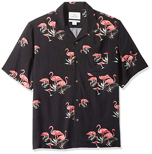 28 Palms Men's Relaxed-Fit Vintage Washed 100% Rayon Tropical Hawaiian Shirt, Black Flamingo Martini, XX-Large