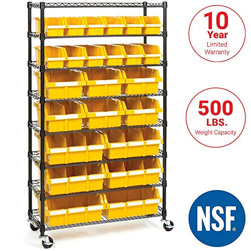36 Compartment Bin Shelving - Seville Classics Commercial 8-Tier Black/Yellow NSF 24-Bin Rack Storage System