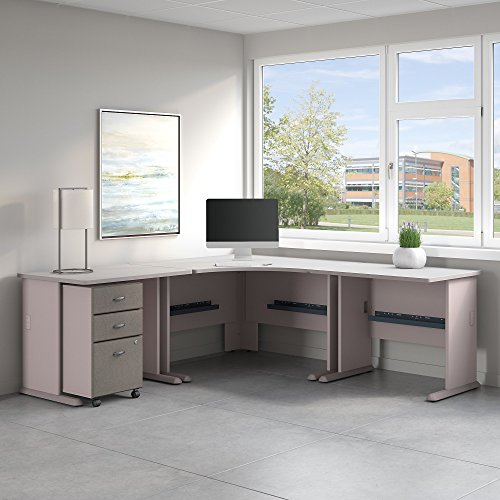 Bush Business Furniture Series A 84W x 84D Corner Desk with Mobile File Cabinet in Pewter and White ()