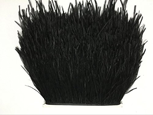 MELADY 2 Yards Fashion Dress Sewing Crafts Costumes Decoration Ostrich Feathers Trims Fringe with Satin Ribbon Tape (Black) ()