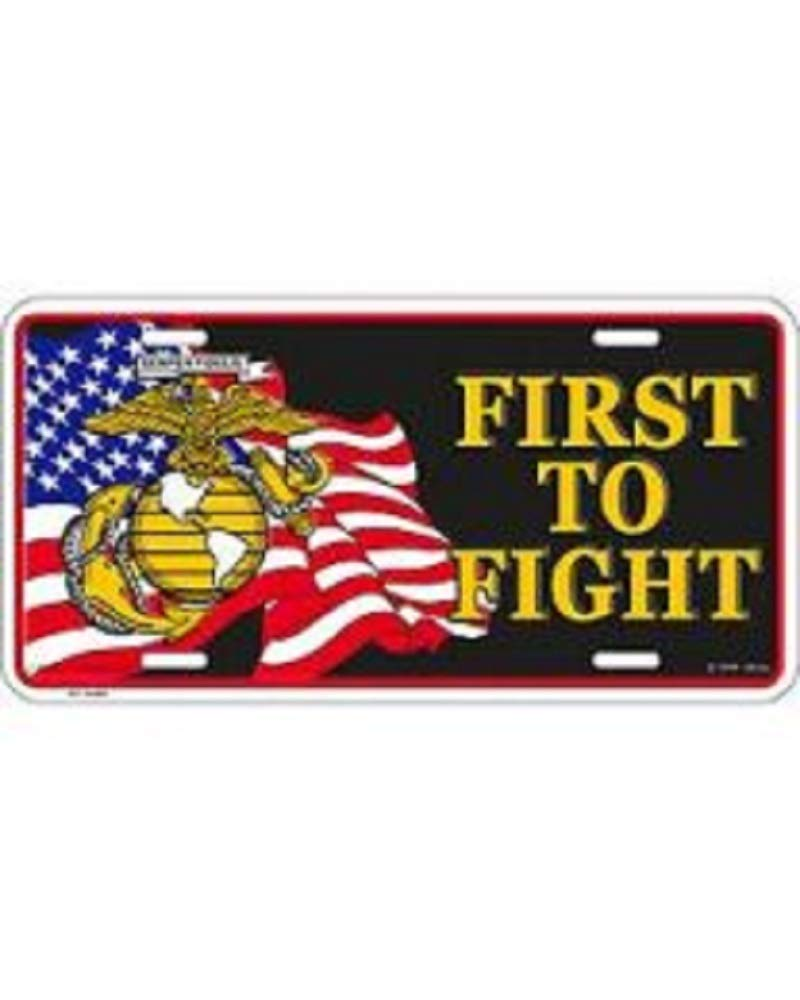 EagleEmblems USMC First to Fight License Plate