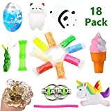 Volscity Bundle Sensory Fidget Toys Set-Squishies Unicorn/Ice Cream/Soft Egg Slime/Flippy Chain/Ultralight Clay/Mesh & Marble Toy/Soybeans Squeeze Grape Ball,Stretch Toys for Children/Adult