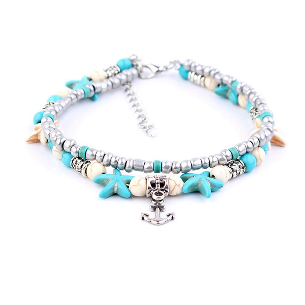 d5b72fc35bd471 Starfish Turtle Anklets Multiple Layered Anklet Heart Bohemian Beach  Rhinestones Turquoise Stone Beads Charm Ankle Bracelets ...