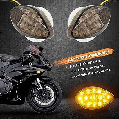 NTHREEAUTO 2Pcs Amber Flush Mount LED Turn Signal Lights Compatible with Honda CBR600RR CBR1000RR CBR 600 F4 CBR900 CBR919 CBR929 CBR 600 F4i- Universal 12V Motorcycle Indicators: Automotive