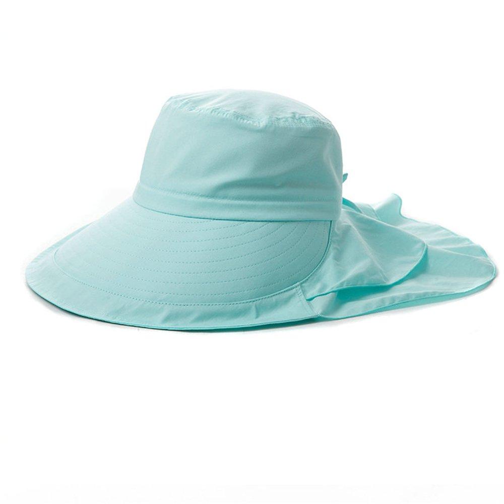 SIGGI Womens Summer Bill Flap Cap UPF 50+ Cotton Sun Hat with Neck Cover Cord Wide Brim Green