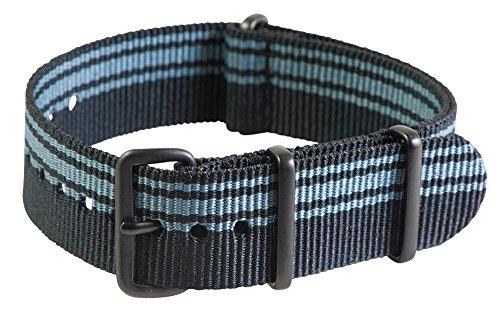 Clockwork Synergy Premium Nylon Nato Watch Straps bands PVD Black Hardware (22mm, Ducati Black / Grey)