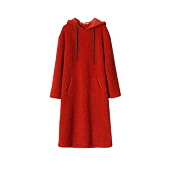 Batas De Baño Onesies con Capucha, Bata De Abrigo De Franela Cálida De Lujo para Mujer Loungewear (Color : Red, Tamaño : L): Amazon.es: Hogar