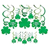 Amscan Lucky Irish Green St. Patrick's Day Foil Swirl Party Decoration Mega Value Kit, Pack of 30 Party Supplies