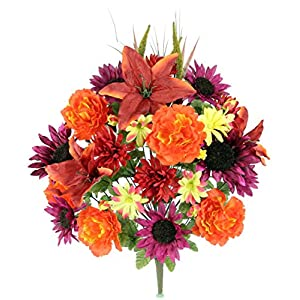 Admired By Nature 36 Stems Home Office/Wedding/Restaurant Decoration Arrangement Lily/Peony/Sunflower/Daisy/Mum Greenery with Foliage Mixed Flowers Bush 26