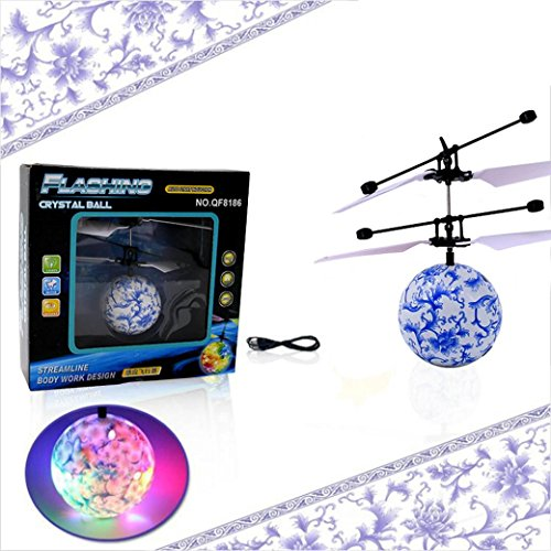 Mikong Crystal LED Lighting Flying Toys,RC Drone Helicopter Ball Lighted RC Flying Lamp Ball Toys