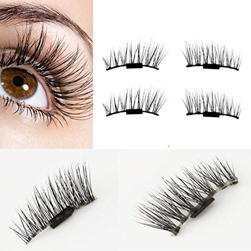 Staron 1 Pair 4pcs Magnetic False Eye Lashes, 3D Reusable Fake Eyelashes Easy To Use Magnet Eyelashes Extension Lash (Black (Easy To Make Men Costumes)