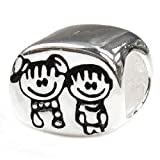 Sterling Silver Brother & Sister Family European Style Bead Charm