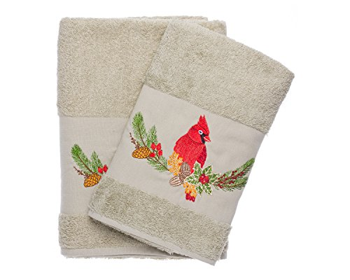 Cardinal Embroidered Bath & Hand Towel Set Best Quality %100 Turkish Cotton By Ebru