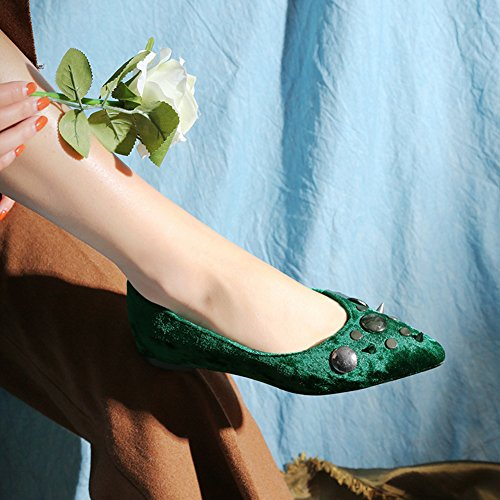 Flats Suede Green Slip Shoes Women's Ballet Casual Walking Fashion Loafers on Pointed Head Rivets wZSxnO