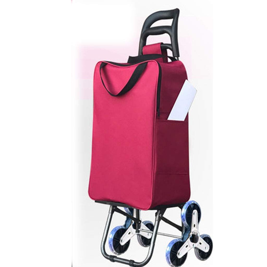 Hzpxsb Lightweight Shopping Trolley, Small Cart Luggage Trolley,Hard Wearing Foldaway for Easy Storage (Color : Red)