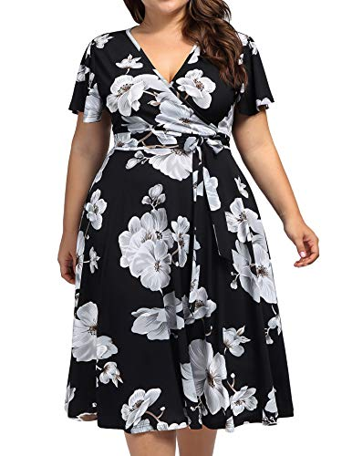 (kissmay Plus Size Boho Dress for Women, Floral Print Midi Dresses for Chubby Women Deep V Neck Spring Clothing for Tall Women Maternity Pregnant 1960s Ruched Wedding Dress for Casual Black White 16W)