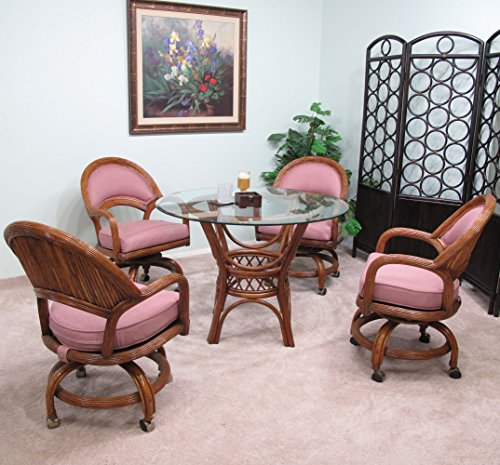 Fruitwood Finese Rattan Dining Caster Chair Table Gaming Furniture 5PC Set