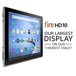 "Certified Refurbished Fire HD 10 Tablet, 10.1"" HD Display, Wi-Fi, 16 GB - Includes Special Offers, White (Previous Generation - 5th) from Amazon"